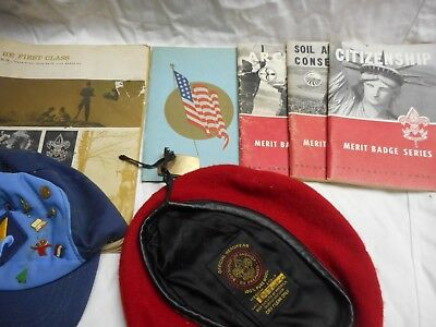 Vintage Lot of Mixed Boy Scout Items, Patches, Pins, Books, Beret