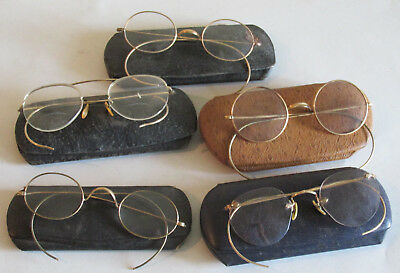 Mixed Lot of Antique Vintage Wire Rim Glasses Spectacles Gold Filled? w Cases