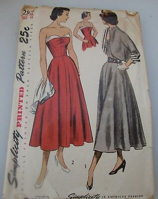 Vintage 1940's Simplicity 2817 Misses' Sun Back Dress and Bolero  Size 16