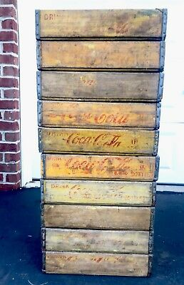 10 Vintage Yellow Faded Weathered Coca Cola Wood Soda Pop Crates Lot