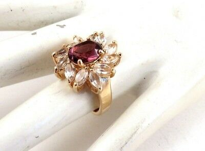 Vintage Purple Clear Rhinestone Cocktail Ring