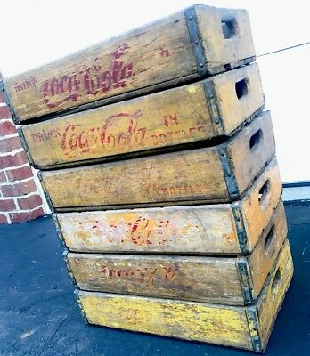 6 Vintage Yellow Faded Weathered Coca Cola Wood Soda Pop Crates Lot