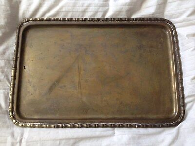 "Vintage Brass Tray with Decorative Edging Unpolished Large 11 1/2"" x 17 1/4"""