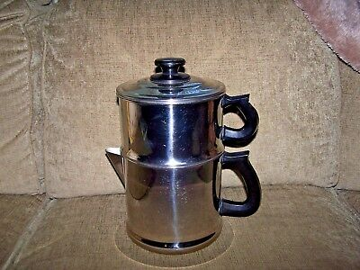 Vintage LIFETIME SS 18-8 DRIP-O-LATOR 10 Cup 4 PC COFFEE POT