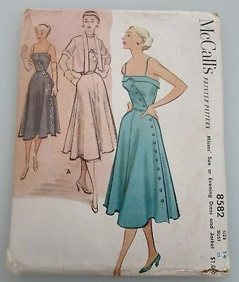 Vintage 1951 McCall's 8582 Misses' Sun or Evening Dress and Jacket Size 14