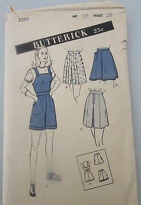 Vintage 1940s Butterick 3397 Women's and Misses' Set of Shorts Hip 37 waist 28