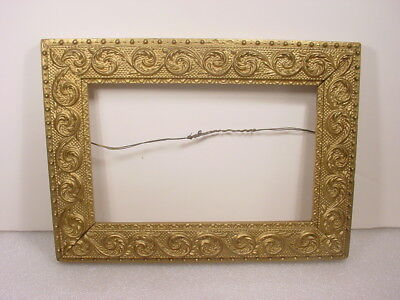 """ANTIQUE VICTORIAN SMALL GESSO WOOD FRAME SWIRLING PLUMES~for 8"""" x 5"""" PAINTING"""