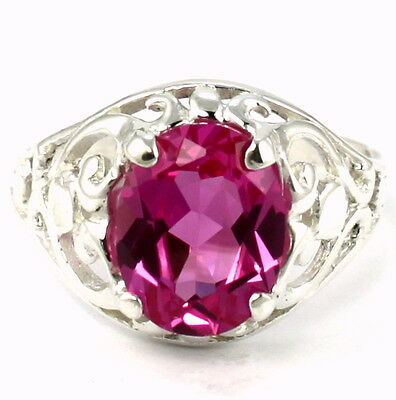 • SR004, 10X8mm Created Pink Sapphire, 925 Sterling Silver Ladies Ring -Handmade