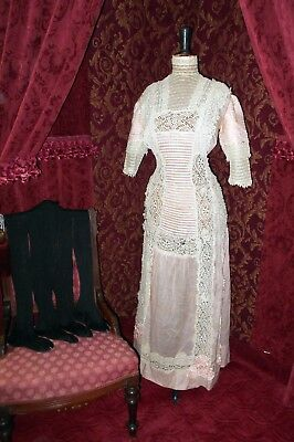 Victorian Edwardian Antique Pink & Lace Dress Princess Tea Gown & Stocking Lot