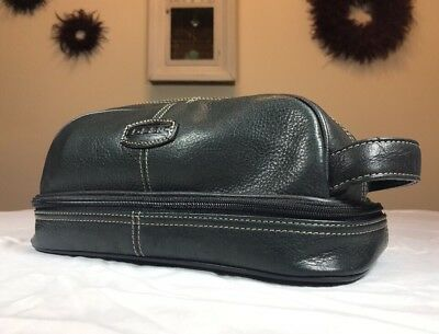 Fossil Genuine Leather Toiletry Mens Travel Bag Black Zip Case