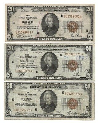 $20 Federal Reserve Bank Notes, Series 1929, 3 Districts, brown seals Fr.1870's.