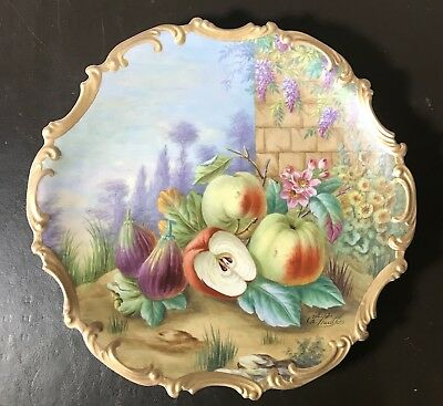 """Antique Limoges Plate Hand Painted by Artist Ch. Thuillier circa 1900 Large 14"""""""