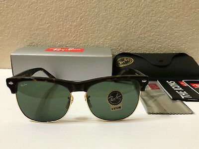 Ray-Ban CLUBMASTER OVERSIZED Sunglasses Tortoise/Classic Green Lens 57 mm