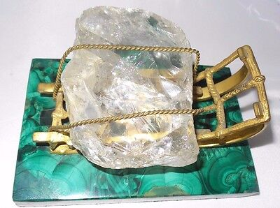 Very Rare Big Russian antique bronze sled with huge crystal on malachite stand!