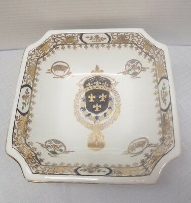 """ANTIQUE Japanese Asian HAND PAINTED SIGNED 8 1/8"""" Square Porcelain Bowl"""