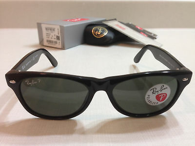 Ray Ban New Wayfarer Sunglasses Black Frame With POLARIZED Green Lens Size 52MM