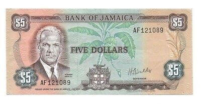 $5 Bank of Jamaica 1960 (1970), P-56 Nice XF.
