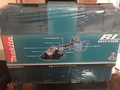 "Makita DGA900Z01K 36V (18V x 2) Li-Ion Cordless Brushless 230mm (9"") Angle Grind"