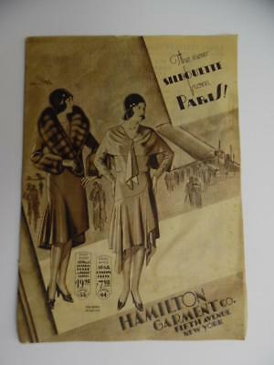 1920s Hamilton Garment Company Women's Fashion Flapper Hats Doll Catalog Vintage