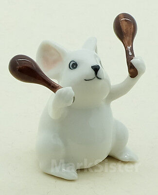 Figurine Ceramic Statue White Rat Mouse Mice Playing Maracas Musical - FG008-3