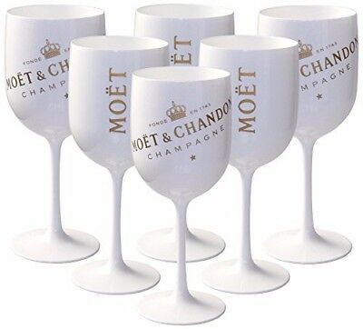 MC Moet Chandon Ice Imperial White Acrylic Champagne Glass Goblet Set x 6 !