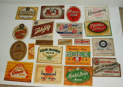 1940s AND 50s COLLECTION OF BEER BOTTLE LABELS LOT #1