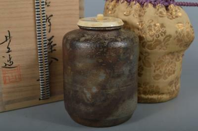 R100: Japanese XF Bizen-ware Youhen pattern TEA CADDY High class lid Shifuku