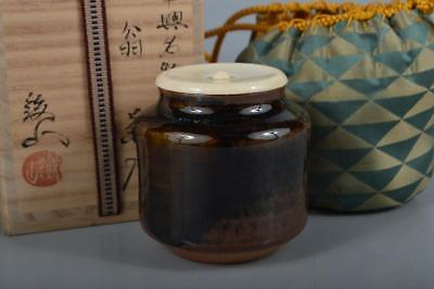 R125: Japan Seto-ware Brown glaze TEA CADDY High class lid Shifuku w/signed box