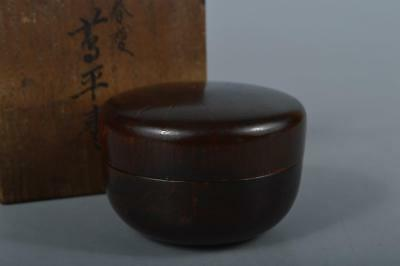 R126: Japanese Old Wooden Lacquer ware TEA CADDY Natsume Chaire Container w/box
