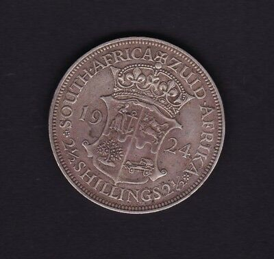 South Africa 1924 Half Crown Silver Coin 2.5 Shillings