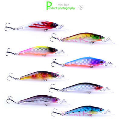 8/16/32pcs Plastic Minnow Fishing Lures Crank Bait Hooks Bass Crankbait Tackle