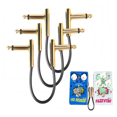 3Pcs 6.35mm Effect Pedal Jack Connector Flat Patch Cable Right Angle Gold Plated