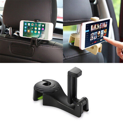 2 in 1 Auto Car Back Seat Phone Holder Stand Headrest Hanger Hooks Clips New