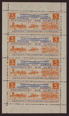 GREAT BRITAIN - WEST COUNRTY AIR SERVICE - 3d BLOCK OF 4 - NO GUM