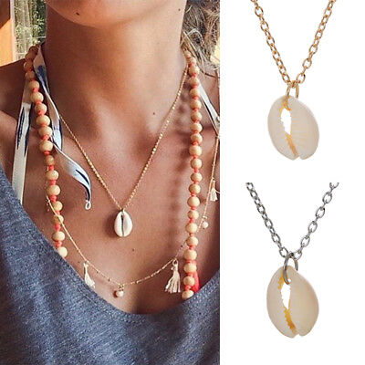 Retro Women's Natural Cowrie Shell Seashell Pendant Choker Necklace Jewelry NEW