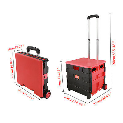 Red - Folding Boot Cart Shopping Trolley Rolling Storage Box Tidy Pull Handle
