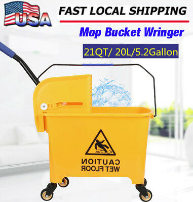 Rolling Mini Side Press Mop Bucket with Wringer 21qt / 5.2 Gallons/20L Yellow SK