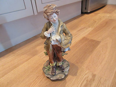 Capodimonte Giuseppe Cappe Cazpie?? Sculpture Tramp Boy with Dog