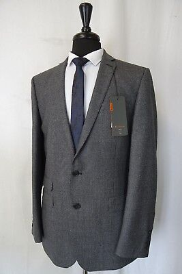 Men's New Ben Sherman Grey Check Kings Slim Fit Suit 40L W36 L33 AA1567