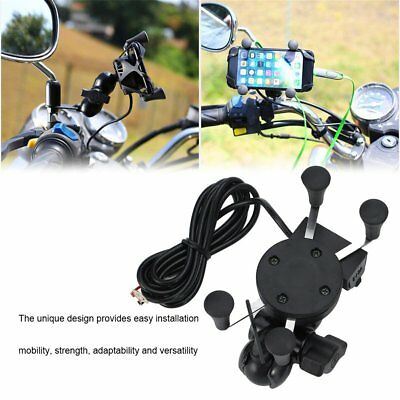 X-Shape Grip Motorcycle Bike Handlebar Cell Phone Mount Holder W/ USB Charger HT