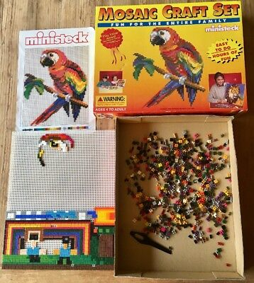Vintage  Ministeck Mosaic Craft Toy Parrot Made USA