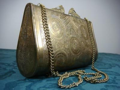 Vintage Brass Metal? Purse With Chain Ornament