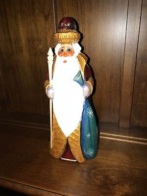 Russian Hand Carved Wood Santa Clause Hand Painted Signed With Staff 8 1/4""