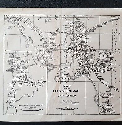 Antique Vintage Map Showing Lines Of Railways In South Australia