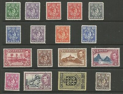 ST LUCIA  SG128a-41 THE 1938-48 GVI SET OF 17 MOUNTED MINT CAT £80