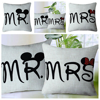 Mr & Mrs Cushion Cover & Filled Retro Vintage His and Hers Mickey & Minnie Mouse