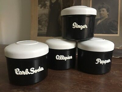 EON Spice Canisters Black and White Kitchen Vintage Kitchenalia