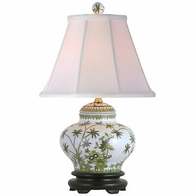 "Oriental Furniture Porcelain Palm Tree Jar 15"" Table Lamp"