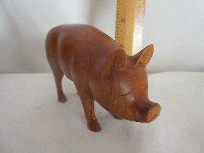 "HAND CARVED WOODEN  PIG Figurine, VINTAGE 1980'S, 4.75"" BY 3""  by HGB"