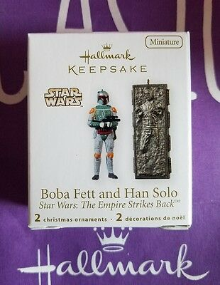 Hallmark 2010 Boba Fett And Han Solo Star Wars Empire Strikes Back Miniature Nib